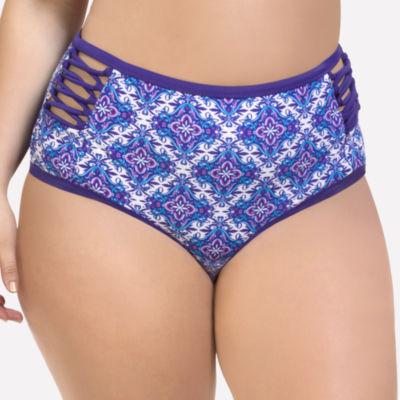 Paramour Pattern High Waist Swimsuit Bottom-Plus