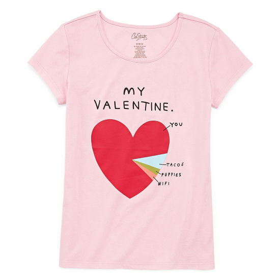 City Streets Short Sleeve Valentines Tee - Girls' 4-16 & Plus