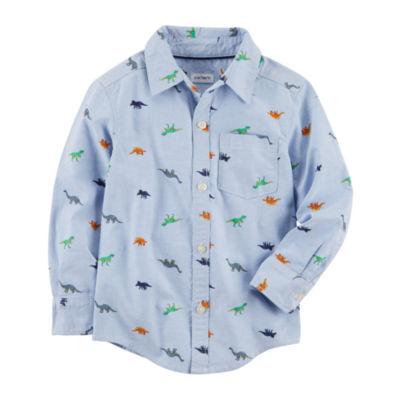 Carter's Dinosaur Long Sleeve Button-Front Woven Shirt - Toddler Boys 2T-5T