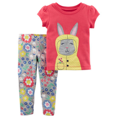 Carter's Bunny Graphic Tee & Legging 2 Piece Set-Toddler Girls 2T-5T