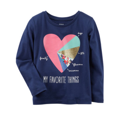 Carter's Long Sleeve Graphic T-Shirt-Toddler Girls