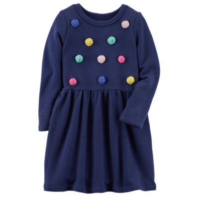 Carter's Pom Pom Long Sleeve Fit & Flare Dress - Toddler Girls 2T-5T