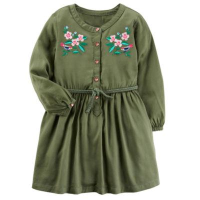 Carter's Long Sleeve Roll Tab Sleeve Shirt Dress - Toddler Girls