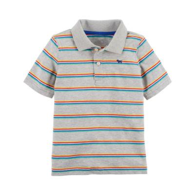Carter's Short Sleeve Stripe Knit Polo Shirt - Preschool Boys