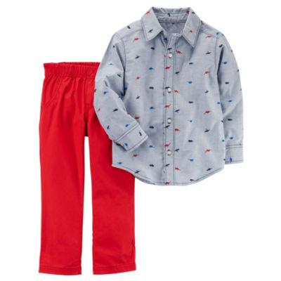 Carter's Long Sleeve Woven & Pant 2 Piece Set - Toddler Boy 2T-5T