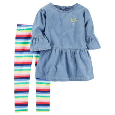 Carter's Chambray Top & Stripe Legging 2 Piece Set - Toddler Girls 2T-5T