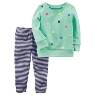 Carter's Long Sleeve Dot Top & Stripe Legging 2 Piece Set - Toddler Girls 2T-5T