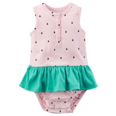 Carter's Pink Watermelon Sleeveless Sunsuit Bodysuit - Baby Girl NB-24M