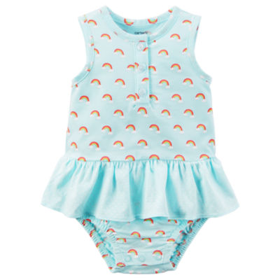 Carter's Mint Rainbow Sunsuit Bodysuit - Baby Girl