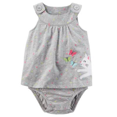 Carter's Gray Cat Sunsuit Bodysuit - Baby Girl NB-24M