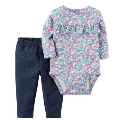 Carter's Floral Long Sleeve Bodysuit & Denim Legging 2 Piece Set - Baby Girl NB-24M
