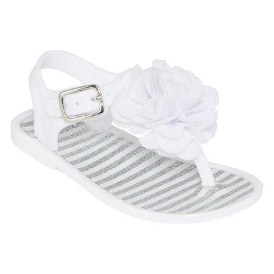 Okie Dokie Girls Glitter Stripe Lycra Flower Jelly Sandal - Baby