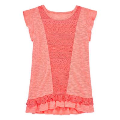 Arizona Short Sleeve Crochet Tunic Top - Girls' 4-16 & Plus