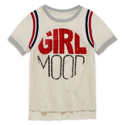 ARIZONA SS LACE FRONT BASEBALL TEE - GIRLS' 4-16 & PLUS