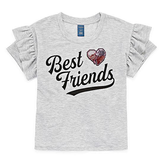 Arizona Short Sleeve Ruffle Graphic Sweatshirt - Girls' 4-16 & Plus