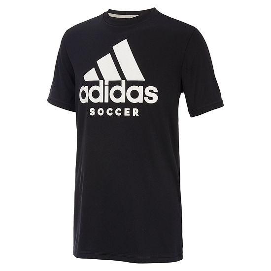 adidas Boys Crew Neck Short Sleeve Moisture Wicking Graphic T-Shirt - Big Kid