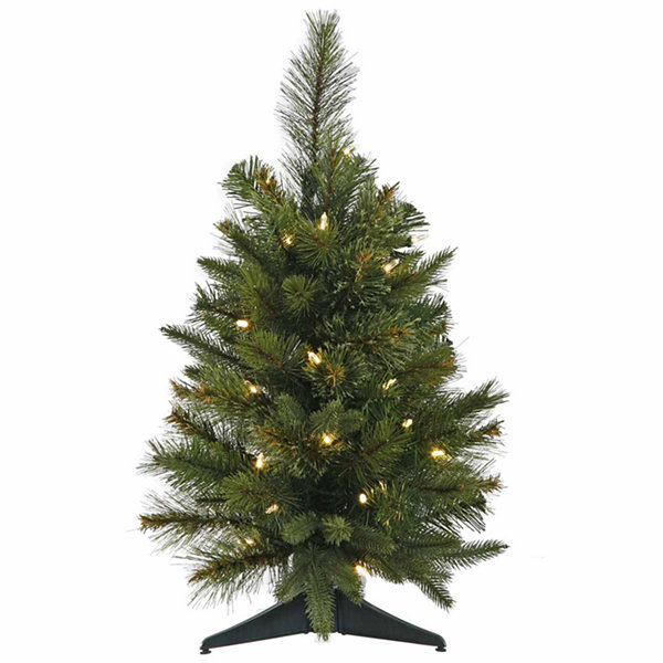 2' Pre-Lit Battery Operated Mixed Pine Cashmere Christmas Tree - Multi LED