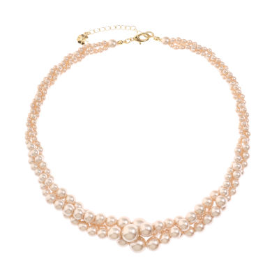 Monet Jewelry Womens Pink Simulated Pearls Collar Necklace