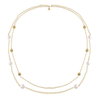 Monet Jewelry Womens Pink Simulated Pearls Strand Necklace