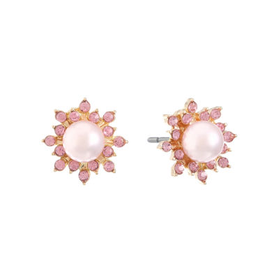 Monet Jewelry Pink SIMULATED PEARLS 17mm Stud Earrings