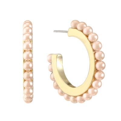 Monet Jewelry Pink 8mm Hoop Earrings