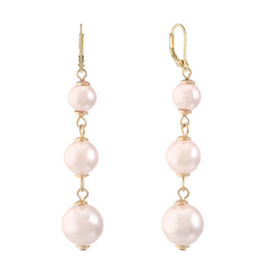 Monet Jewelry Pink SIMULATED PEARLS Drop Earrings