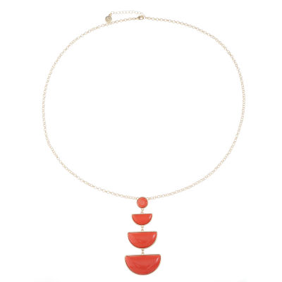 Liz Claiborne Womens Orange Pendant Necklace
