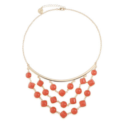 Liz Claiborne Womens Orange Statement Necklace