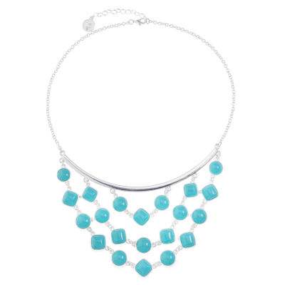 Liz Claiborne Womens Blue Statement Necklace