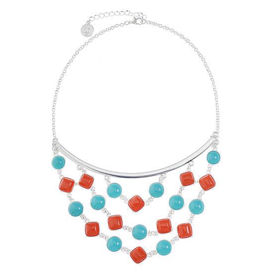 Liz Claiborne Womens Multi Color Statement Necklace