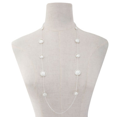 Liz Claiborne Womens White Simulated Pearl Round Strand Necklace