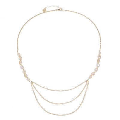 Liz Claiborne Womens White Cultured Freshwater Pearl Round Strand Necklace