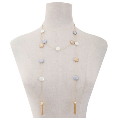 Liz Claiborne Womens Multi Color Simulated Pearls Round Strand Necklace