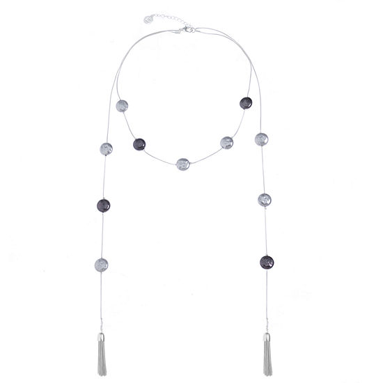 Liz Claiborne Gray Simulated Pearl 18 Inch Snake Round Strand Necklace