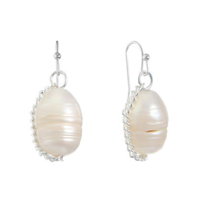 Liz Claiborne White CULTURED FRESHWATER PEARLS Round Drop Earrings