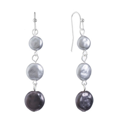 Liz Claiborne Gray Simulated Pearl Round Drop Earrings