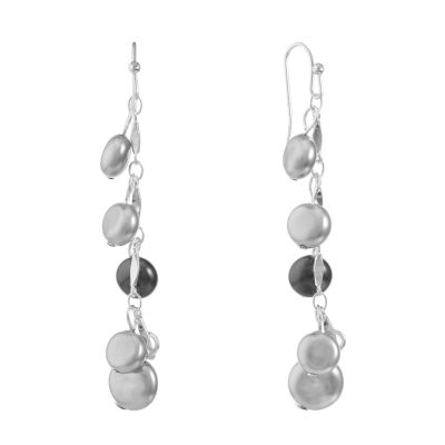 Liz Claiborne Gray SIMULATED PEARLS Round Drop Earrings
