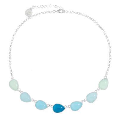 Liz Claiborne Womens Blue Pear Collar Necklace