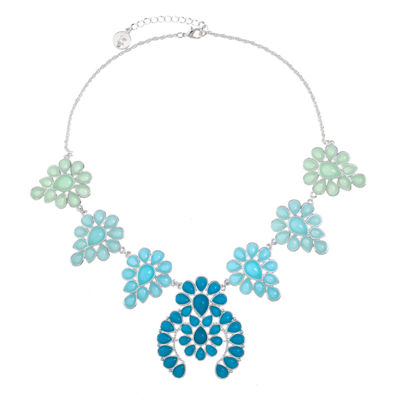 Liz Claiborne Womens Blue Flower Statement Necklace