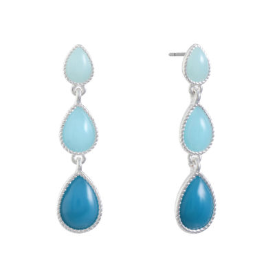 Liz Claiborne Blue Pear Drop Earrings