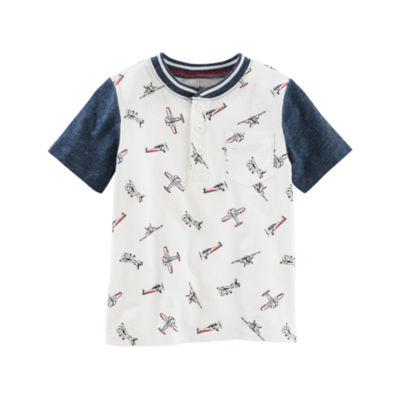 Oshkosh Short Sleeve Jersey Henley Tee - Toddler Boys