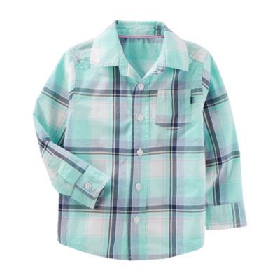 Oshkosh Long Sleeve Button-Front Shirt Boys 2T-5T
