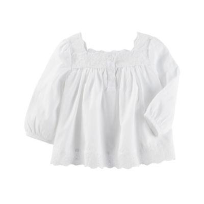 Oshkosh Round Neck Long Sleeve Blouse - Baby Girls