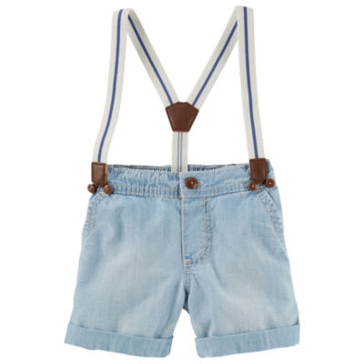 Oshkosh Light Denim Suspender Shorts Baby Boys