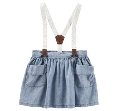 Oshkosh Hibiscus Wash Suspender Denim Skirt - Baby Girls