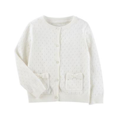 Oshkosh Long Sleeve Pointelle Cardigan - Toddler Girls