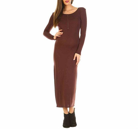 White Mark-Maternity Long Sleeve Maxi Dress