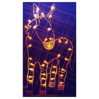 "47"" Donkey Nativity Silhouette Lighted Wire FrameChristmas Yard Art Decoration"""
