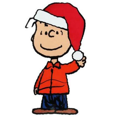 "8"" Peanuts Linus Wearing Santa Hat Jelz ChristmasWindow Cling"""