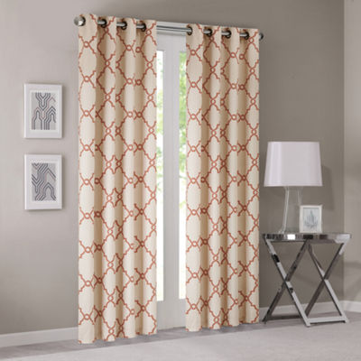 Madison Park Westmont Fretwork Print Grommet-Top Curtain Panel